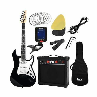 LyxPro Complete Beginner Starter kit Pack Full Size Electric Guitar with 20w ...