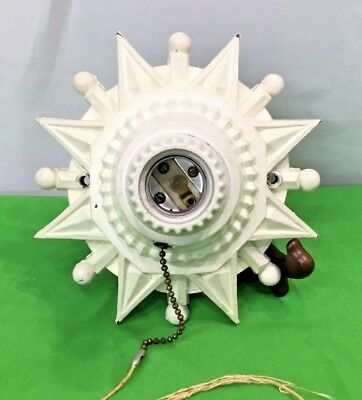 Vintage Cast Iron Ceiling Light Lamp Star Shaped Painted White