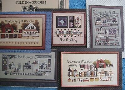 5 TOLD in a GARDEN AMISH LIFE Quilting, Market, Courting cross stitch patterns