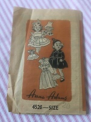 """Vintage Anne Adams doll clothes pattern for 20"""" dolls"""