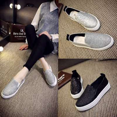 237916ef0a Women Flat Shoes Canvas Sequin Glitter Loafers Ladies Casual Slip On  Sneakers