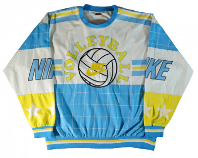Blue Yellow L Vintage Grey Sweater 90s Crew Team Nike Tag Volleyball Sweatshirt 8Pn0wOk