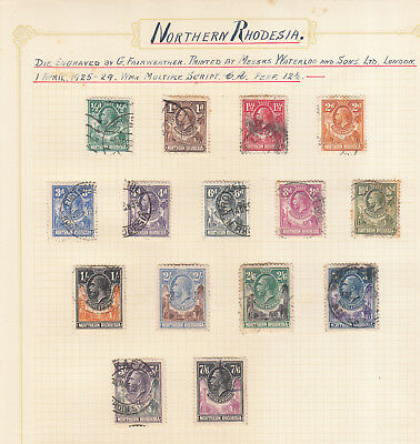 Northern Rhodesia 1925-29 Set Used To 7/-6D High Cv