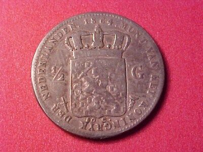 Netherlands Kingdom 1/2 Gulden Silver 1864 Willem Iii