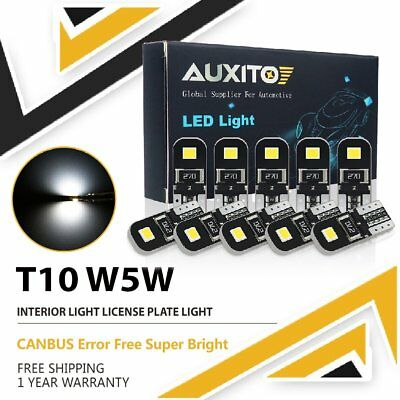 10Pcs T10 W5W LED Park Light Interior light Super White 6000k Canbus Error free