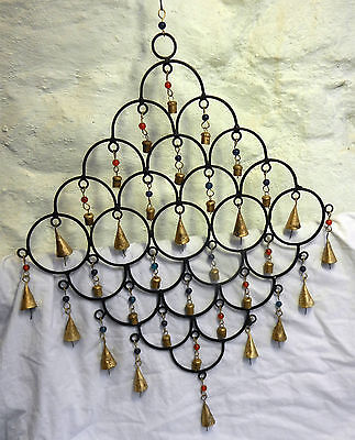 Large Hand Made Cast Iron & Brass Hanging Multi Bell Wind Chime -  BNIB