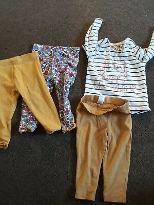 small bundle of girls' leggings and top age 9 to 12 months