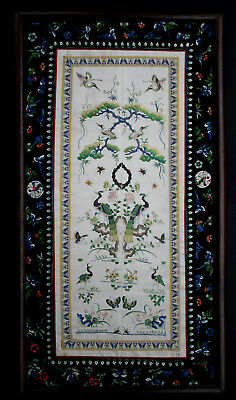 Antique Chinese Silk Embroidered Robe Sleeve Panels Qing