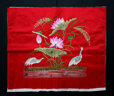 Antique Chinese Silk Embroidery Panel - Hand Embroidered Lotus Cranes - Ruby Red