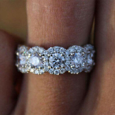 Luxury Round White Sapphire CZ Engagement Ring White Gold Wedding Fine Jewelry