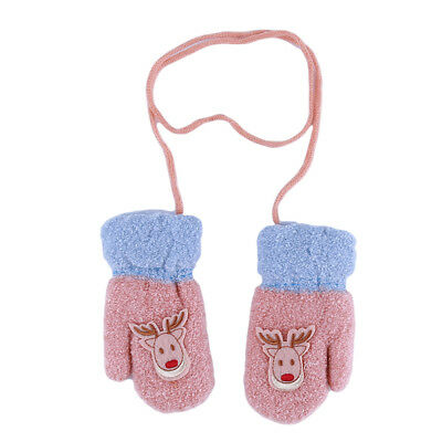 Cute Child Christmas Gift Small Deer Pattern Winter Warm Mittens Rope Gloves CB