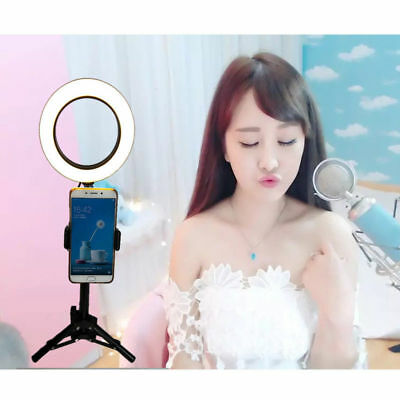 "6"" Dimmable 5500K LED Ring Light Kit w/ Stand For Makeup Phone Camera Selfie New"