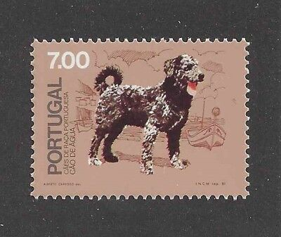 Dog Art Full Body Portrait Postage Stamp PORTUGUESE WATER DOG Portugal 1981 MNH