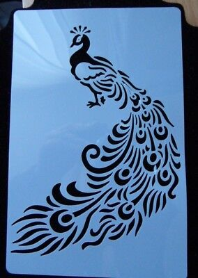 PEACOCK SHAPED STENCIL AIRBRUSH PAINTING CAKE SPRAY DECORATION DIY 15 x 11 CM