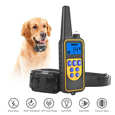 US Pet Dog Waterproof Training Collar Rechargeable Electric Shock LCD 875Yard