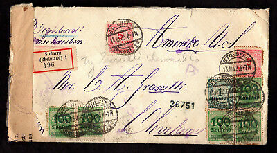 1923 Germany Inspected Registered Inflation Cover to Ohio USA