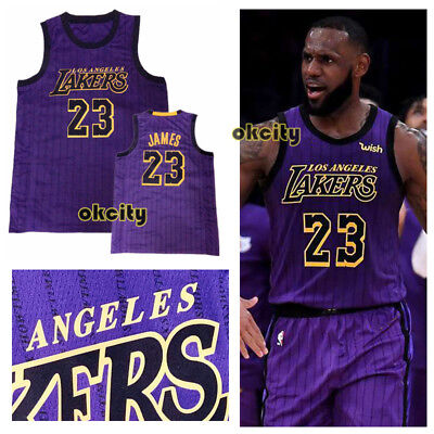 the best attitude 43320 87c9d LOS ANGELES LAKERS LA #23 LeBron James City Edition Purple Man Youth Kid  Jersey