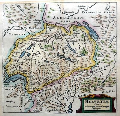 SWITZERLAND   BY CLUVER / BERTIUS c1661 GENUINE 350 YEAR OLD ANTIQUE MAP