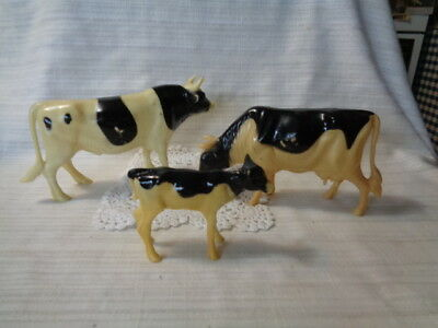 3 Vtg Nylint Corp. Hard Plastic Horned Cow & CALF Made in Hong Kong Toy Figure