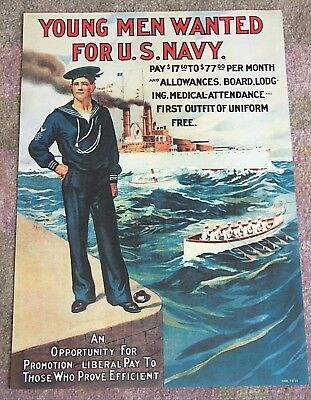Vintage WWI NAVY RECRUITING POSTER, Young Men Wanted for U.S. Navy, NEVER HUNG!