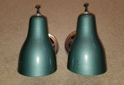 2 Vintage Mid Century Pierced Hammered Turquoise Chrome Cone Wall Lights Sconces