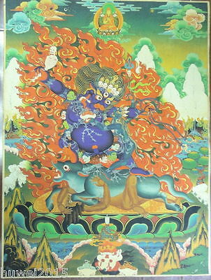 90CM Old Mysterious Tibetan hand-painted Cotton Thangka TKA0102