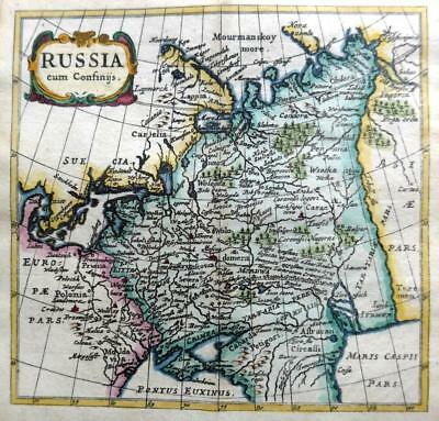 RUSSIA   BY CLUVER / BERTIUS c1661 GENUINE 350 YEAR OLD ANTIQUE MAP