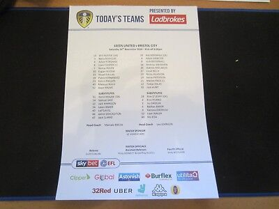 2018/19 CHAMPIONSHIP LEEDS UNITED v BRISTOL CITY  TEAM SHEET