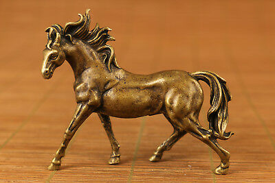 Rare Chinese Old bronze horse statue good stand home decoration