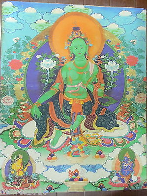 90CM Old Mysterious Tibetan hand-painted Cotton Thangka TK0024