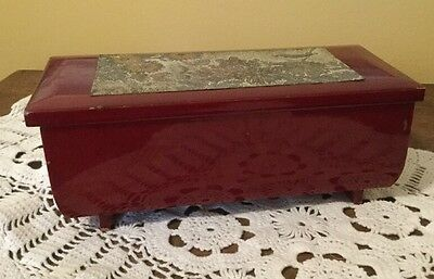 Vintage Red Lacquer Musical Jewelry Box With Decorative Metal Plate