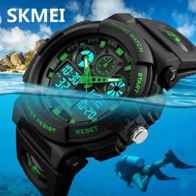 SKMEI Military Watch Sport Quartz Wrist Mens Analog Digital Waterproof Silicone