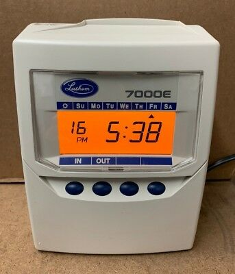 Lathem 7000e Calculating Time Recorder + 100 Time Cards + Spare Ribbon