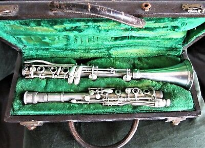 Vintage 1929 or 1930 CONN 524N Bb METAL CLARINET 4 Piece Project Old & Rare L.P.