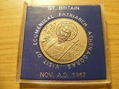 A 1967 Visit of Ecumenical Patriarch Athenagoras Medal - in presentation case