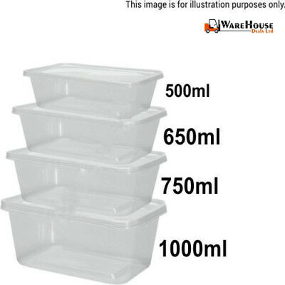1000 Food Containers Plastic Takeaway Microwave Freezer Safe Storage Box + LIDS