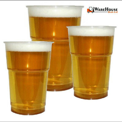 Clear Strong Plastic Pint / Half 1/2 Disposable Beer Glasses Cups Tumblers Party