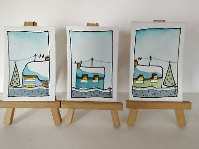 3 Original Watercolour Paintings ACEO - Chimney Warmth