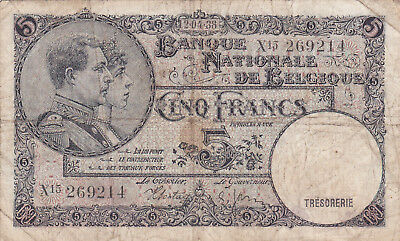 5 Francs Vg Banknote From Belgium 1938!pick-108