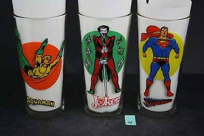 Vintage DC 1976 Pepsi Super Series Glasses Superman Joker Aquaman 3x LOT PS4