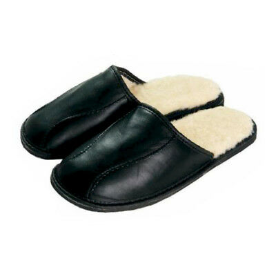Leather Sheep Wool Fluffy Black Mens Men slippers mules plus size 7 8 9 10 11 12