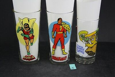 1976 Pepsi Super Series Robin Shazam & McDonalds Muppet Caper Glasses 3x LOT PS5