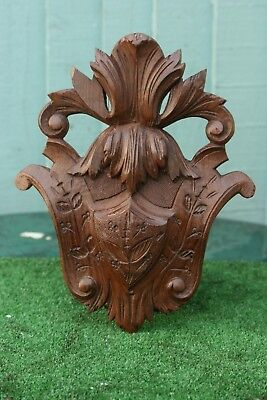 SUPERB 19thC BLACK FOREST WOODEN OAK CORBEL WITH LEAVES & OTHER c1890s