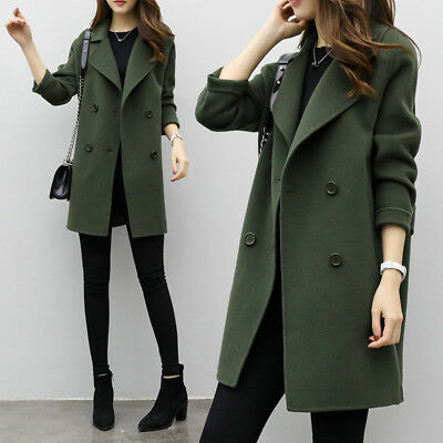check out cdba8 f035d CAPPOTTO LUNGO SOTTILE donna inverno caldo Trench Parka Outwear Giacca lunga