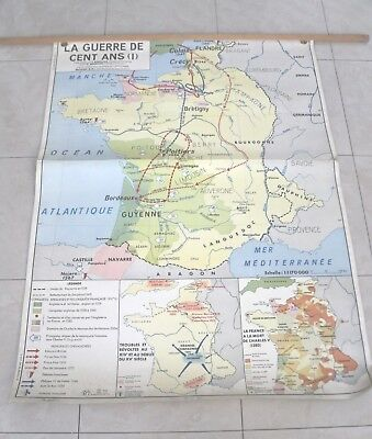 Vintage French School Map. Guerre de 100 Ans/100 Years War. 1 + 2. MDI.