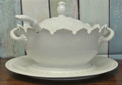 Vintage Italian Ceramic Lidded Tureen with Underplate and Ladle