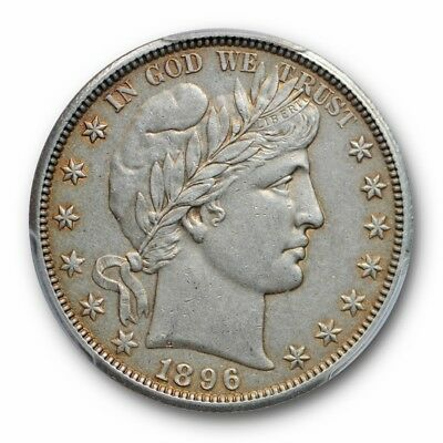 1896 O 50C Barber Half Dollar PCGS AU 50 About Uncirculated Key Date Toned