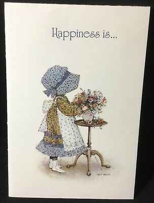 Vtg AGC HOLLY HOBBIE Birthday Card NEW 1975 Blue Bonnet Girl Arranging Flowers