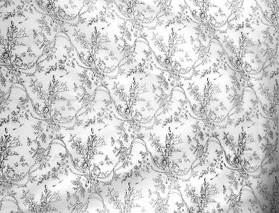 Charming 1930's American Cotton Floral Toile Printed Fabric (8747)