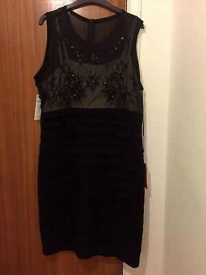 Stunning Brand New With Tags Klass Size 16 Black Bodycon Cocktail Dress